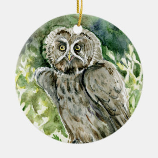 Great Grey Owl watercolor Round Ceramic Decoration