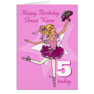 Great niece ballerina birthday pink age card
