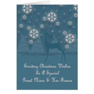 Great Niece & Her Fiance Reindeer Christmas Greeting Card