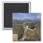 Great Wall winding through the mountain, Square Magnet