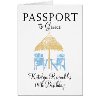 Greece Passport Birthday Trip Present Note Card