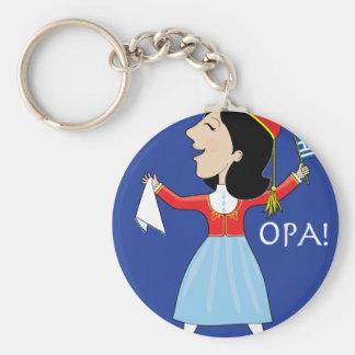 Greek Lady Dancing Basic Round Button Key Ring