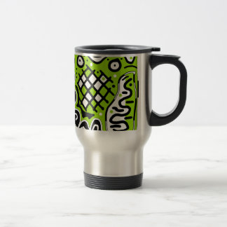 Green abstract design stainless steel travel mug