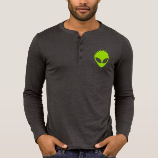 Green Alien Canvas Henley Long Sleeve Shirt