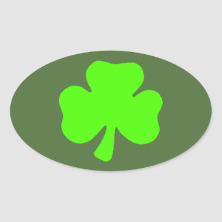 Green and white oval shamrock stickers
