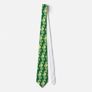 Green and Yellow Seahorses Tie