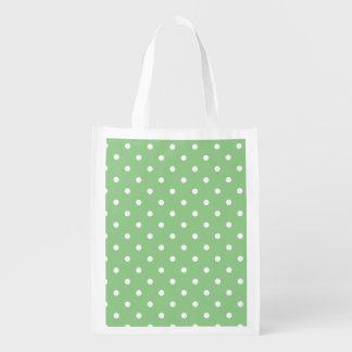 Green Apple Polka Dots Reusable Grocery Bag