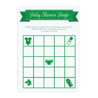 Green Baby Shower Bingo Game Double Sided 13 Cm X 18 Cm Invitation Card