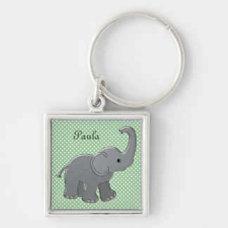 green baby shower elephant Silver-Colored square key ring