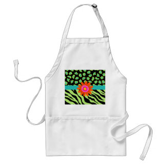 Green, Black & Teal Zebra & Cheetah Orange Flower Standard Apron