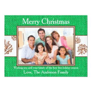 Green Burlap Pinecones Photo - 6x8 Christmas Card 17 Cm X 22 Cm Invitation Card