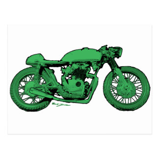 Green Cafe Racer Vintage Motorcycle Postcard
