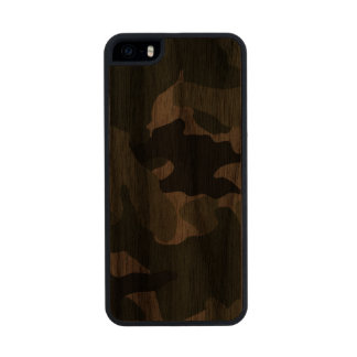 Green Camo Military Carved® Wood iPhone 5 5S Cases