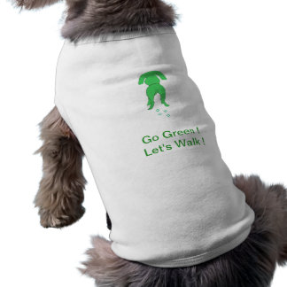 Green Dog Ears Down Doggie Shirt Let's Walk
