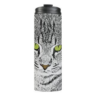 Green Eye Tabby Cat Thermal Tumbler