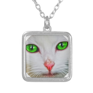 Green Eyes Cat Square Pendant Necklace