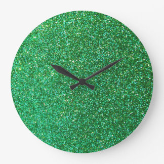 Green faux glitter graphic wallclock