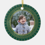 Green & Faux Gold Medallion Holiday Photo Round Ceramic Decoration
