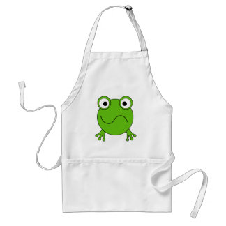 Green Frog. Looking confused. Standard Apron
