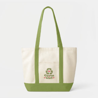 Green Girl Recycle Canvas Tote Bag