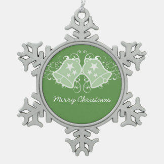 Green Holiday Bells and Swirls Ornament