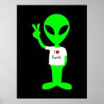 """Green """"I Love Earth"""" Alien Poster"""
