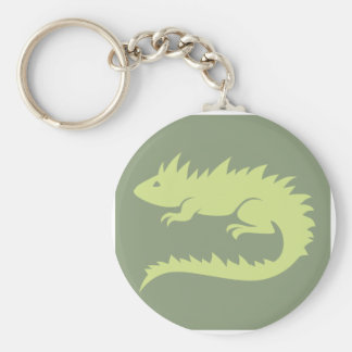 Green Iguana Reptile Icon Basic Round Button Key Ring
