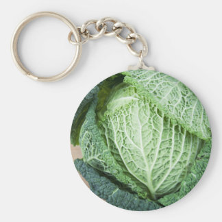 Green Leaf Cabbage Basic Round Button Key Ring