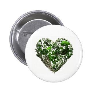 Green Leaf Heart 6 Cm Round Badge