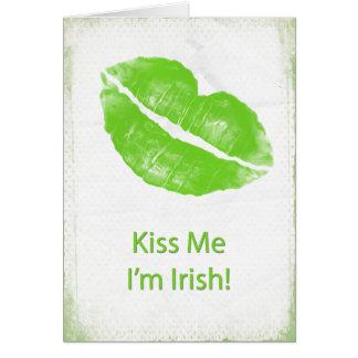 Green Lips - Kiss Me I'm Irish Greeting Card