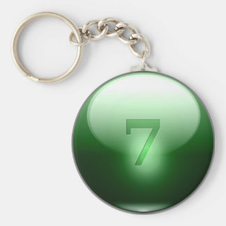 Green Lucky 7 Basic Round Button Key Ring