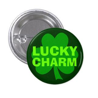 Green Lucky Charm Shamrock Button