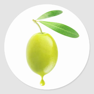 Green olive with drop of oil round sticker