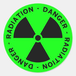 Green Radiation Warning Round Sticker