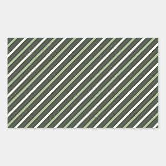 Green Retro Diagonal Stripes Rectangular Sticker