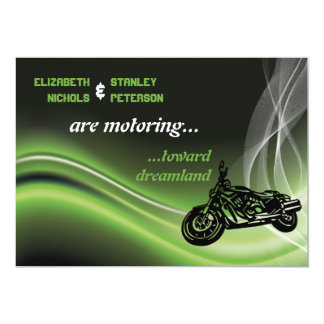 Green road biker/motorcycle wedding 13 cm x 18 cm invitation card