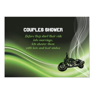 Green road biker/motorcycle wedding couples shower 13 cm x 18 cm invitation card