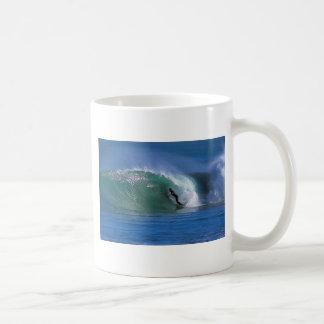 Green surfing wave New Zealand Basic White Mug
