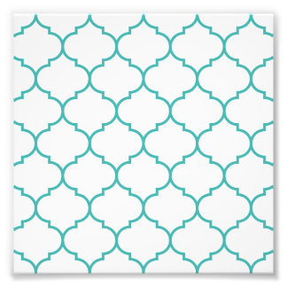 green,teal,white,morrocan,quatrefoil,pattern,trend photographic print