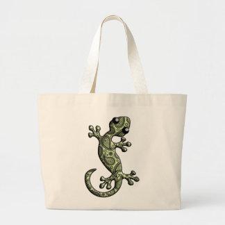 Green White Climbing Gecko Lizard Jumbo Tote Bag