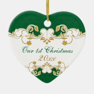 Green White Gold Scrolls, Shamrocks 1st Christmas Ceramic Heart Decoration