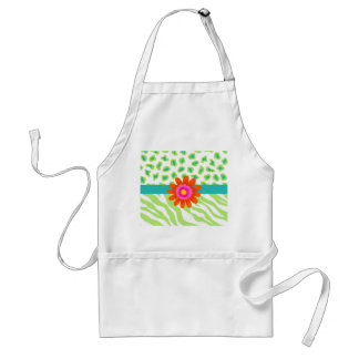 Green, White & Teal Zebra & Cheetah Orange Flower Standard Apron