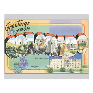 Greetings From Colorado, Vintage 21.5 Cm X 28 Cm Flyer