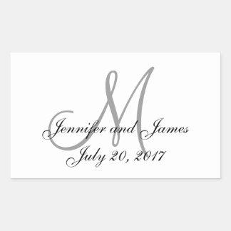 Grey and White Monogram Rectangle Wedding Labels Rectangular Sticker