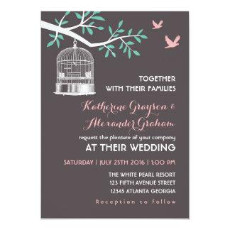 Grey Bird Cage and Dove Rustic Wedding Invitation