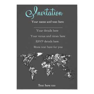 Grey charcoal earth 13 cm x 18 cm invitation card