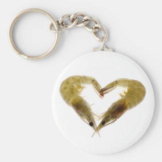 Grey prawns in love basic round button key ring