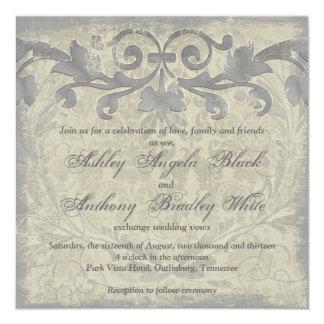 Grey Sand Grunge Baroque Floral Wedding Invitation