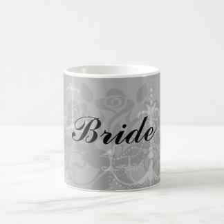 grey silver chandelier damask on black basic white mug