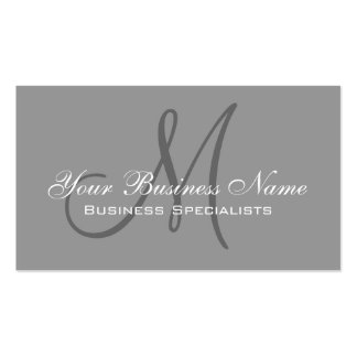 Grey Simple Plain Monogram Logo Business Card